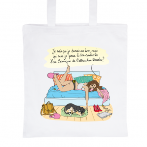 "White Tote Bag 100% Cotton Marie Crayon ""No Desire to get out of bed !"""