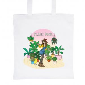 "Tote Bag Blanc 100% Coton Marie Crayon ""Plant Mom"""