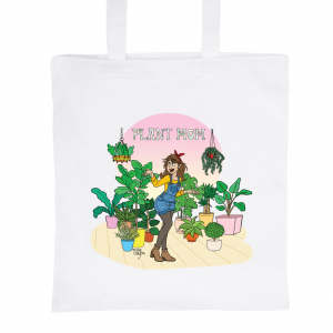 "White Tote Bag 100% Cotton Marie Crayon ""Plant Mom"""