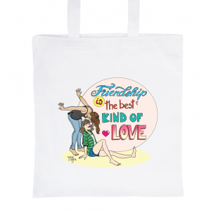 "White Tote Bag 100% Cotton Marie Crayon ""Friendship"""