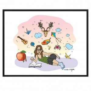 """Poster Papier 50x40 Marie Crayon """"Dans mes rêves"""""""
