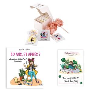 """Pack exclusif Marie Crayon livre """"30 ans, et après ?"""" + boîte de thé sachets illustrés (8, 16 ou 24) + carte dédicacée OFFERTE"""