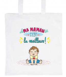 """Tote Bag Blanc 100% Coton Marie Crayon """"Ma Maman c'est la meilleure"""""""