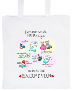 "White Tote Bag 100% Cotton Marie Crayon ""In my mom's bag"""