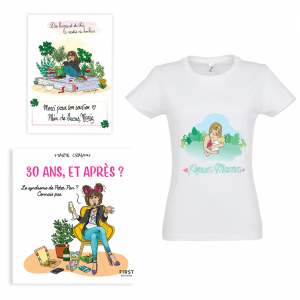 "Exclusive pack Marie Crayon book ""30 years and after ?"" + white woman t-shirt ""Proud Mama"""