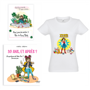 "Exclusive pack Marie Crayon book ""30 years and after?"" + white t-shirt woman ""Wonderwoman"" + FREE signed card"