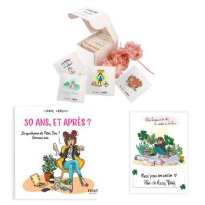 """Pack exclusif FETE DES MERES Marie Crayon livre """"30 ans, et après ?"""" + boîte de thé sachets illustrés (8, 16 ou 24) + carte dédicacée OFFERTE"""