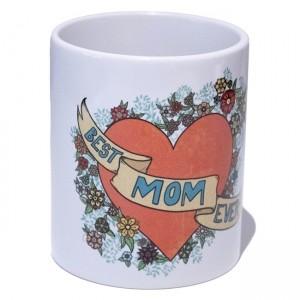 "Mug Blanc Marie Crayon ""Best Mom Ever"""