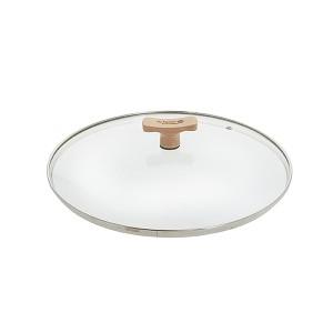 Couvercle verre 24 cm bouton bois de hêtre De Buyer