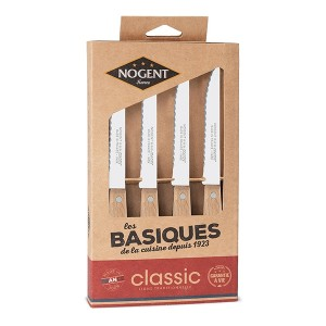 Coffret 4 couteaux à steak Kraft Classic bois de hêtre naturel Nogent