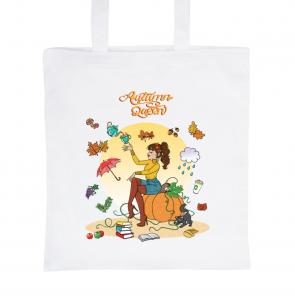 """Tote Bag Blanc 100% Coton Marie Crayon """"Autumn Queen"""""""